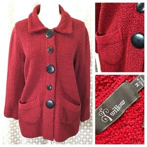 WILLOW Cotton Knit Sweater Cardigan Red Buttons M
